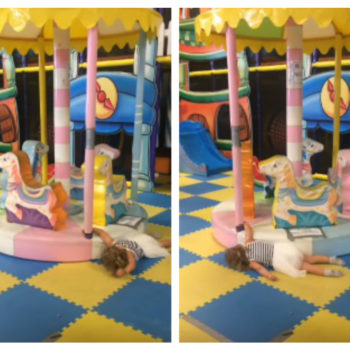 This little girl getting dragged by a merry-go-round proves that even having fun can be totally exhausting