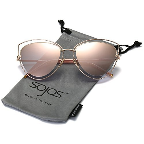 22e586c4dca2 Women s Double Wire Double Rimmed UV400 Cat Eye Sunglasses from SojoS.  Amazon