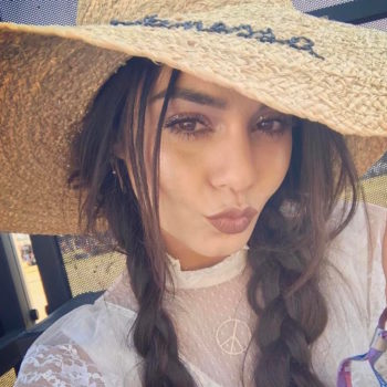 Here's where you can get the embroidered sun hat Vanessa Hudgens is living for