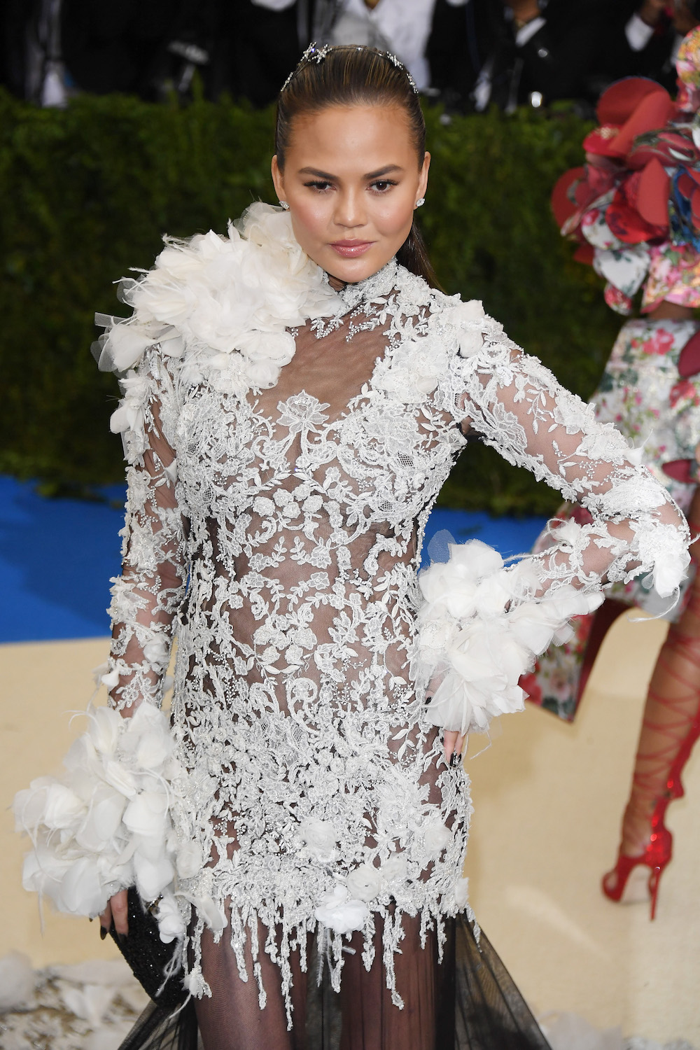 NEW YORK, NY - MAY 01:  Chrissy Teigen attends  Rei Kawakubo/Comme des Garcons: Art Of The In-Between  Costume Institute Gala - Arrivals at Metropolitan Museum of Art on May 1, 2017 in New York City.  (Photo by Venturelli/WireImage)