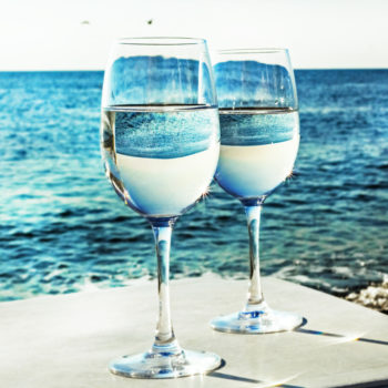 This turquoise blue sparkling wine will have you dreaming of Mediterranean seas