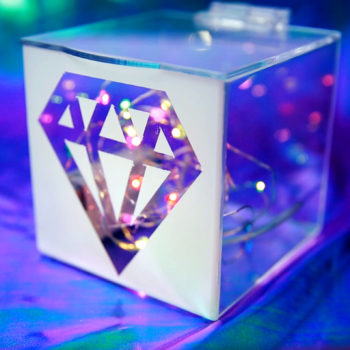This DIY diamond light box will turn your home into a dancing queen's ballroom