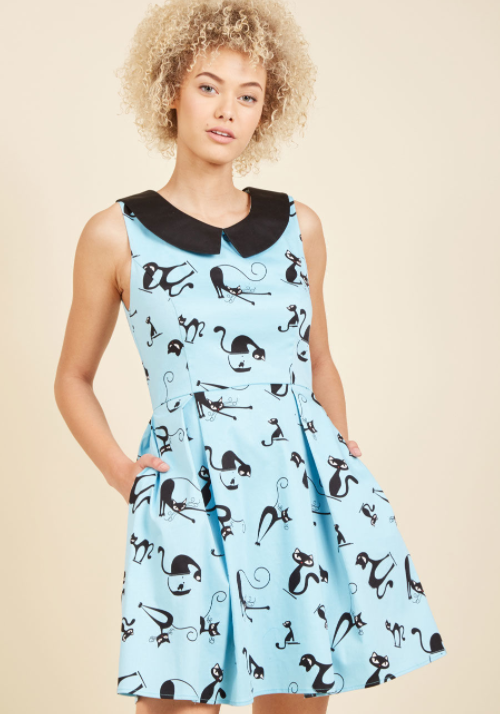 Image of the ModCloth black cat dress
