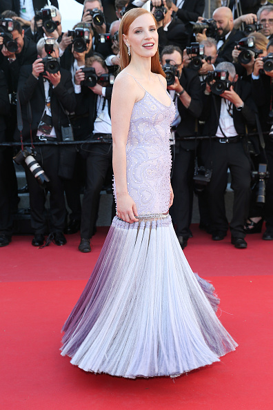 Jessica Chastain in a lilac gown at Cannes