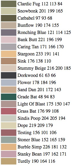 Paint Name someone trained a computer to invent names for paint colors, and