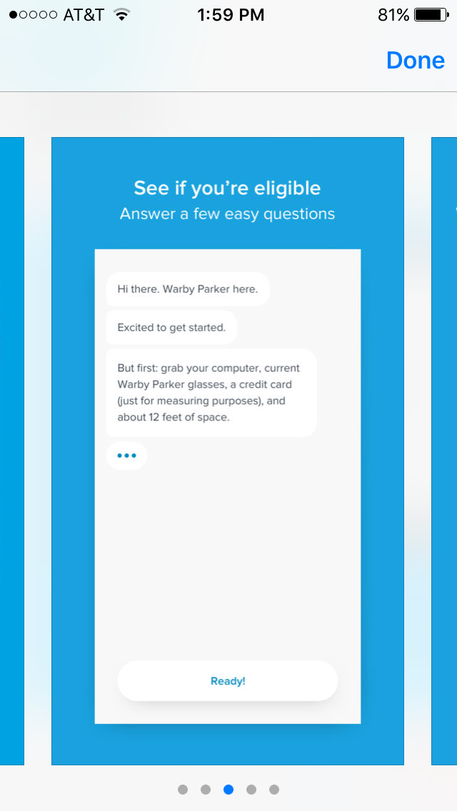 Image of the Warby Parker app