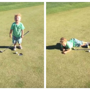 This little boy played golf and threw the most epic tantrum after struggling