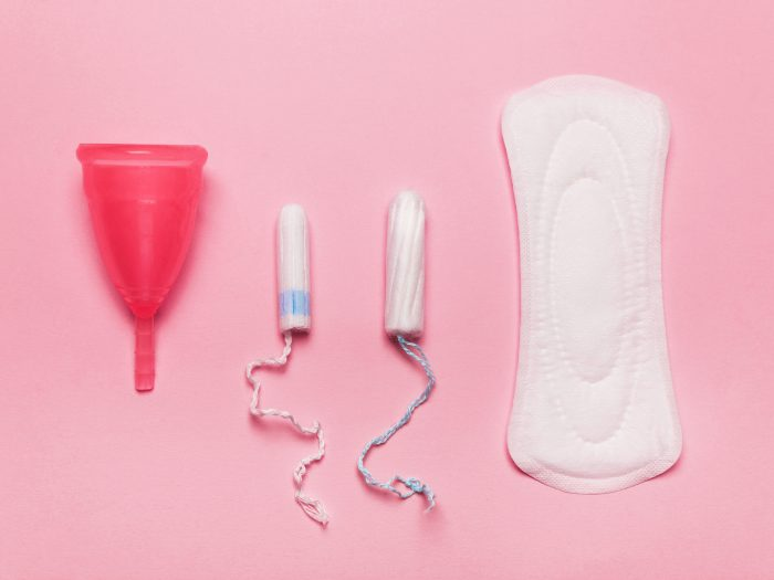 period pad, tampon. menstrual cup, period came early