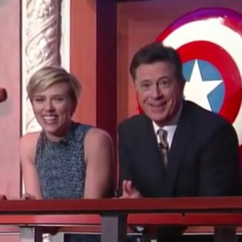 Scarlett Johansson and Stephen Colbert just found a mystery safe on his set, and now we're obsessed