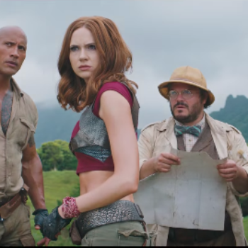 "The Rock is totally badass in the first trailer for ""Jumanji: Welcome to the Jungle"" — like we knew he would be"