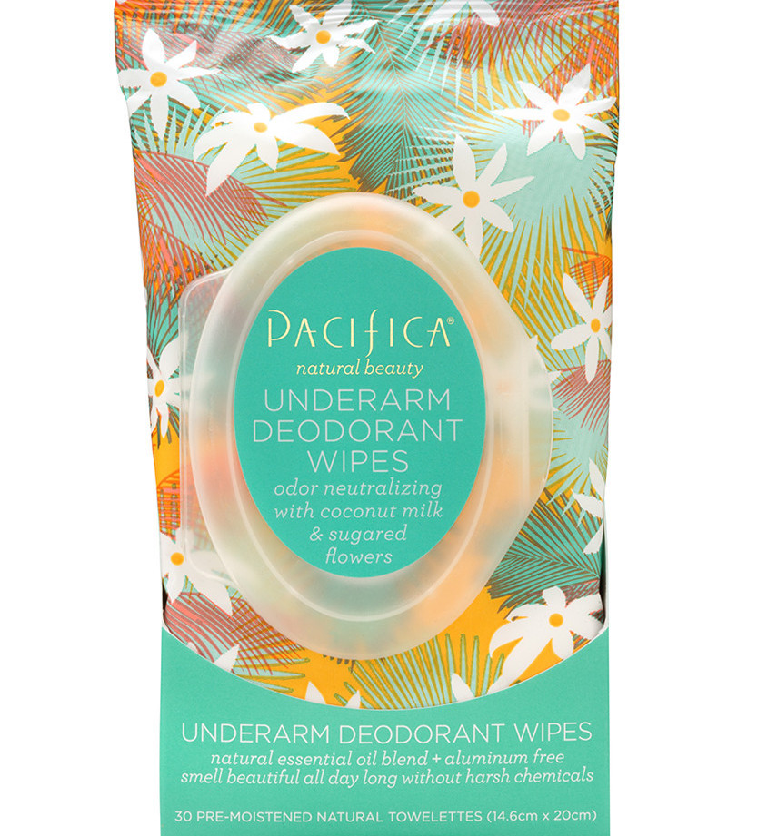 The packaging for Pacifica's Coconut Milk & Sugared Flowers Underarm Deodorant Wipes
