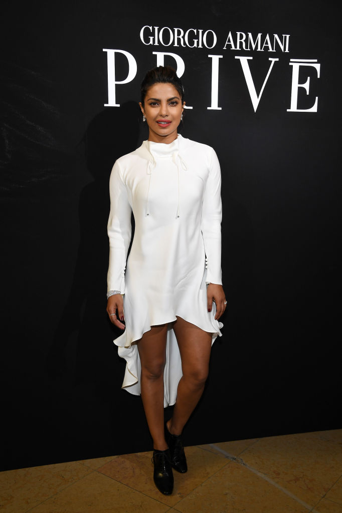 Priyanka Chopra attends the Giorgio Armani Prive Haute Couture Fall/Winter 2017-2018 show as part of Haute Couture Paris Fashion Week on July 4, 2017 in Paris, France.