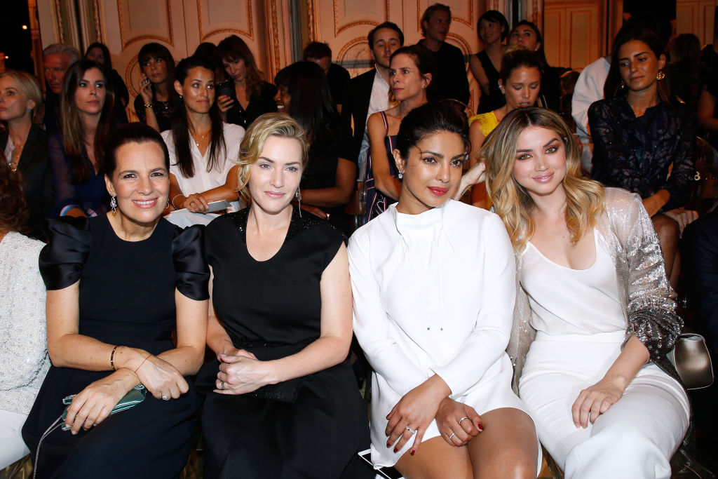 Roberta Armani, Kate Winslet, Priyanka Chopra and Ana de Armas attend the Giorgio Armani Prive Haute Couture Fall/Winter 2017-2018 show as part of Haute Couture Paris Fashion Week on July 4, 2017 in Paris, France.
