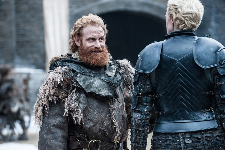 Krisofer Hivju and Gwendoline Christie as Tormund and Brienne.