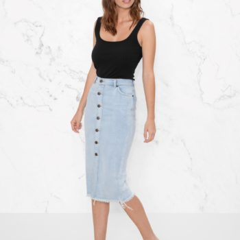 This denim trend is a modern remake of the nostalgic denim mini skirt, and we're obsessed