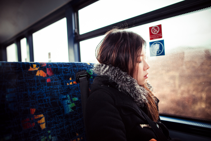 woman on bus