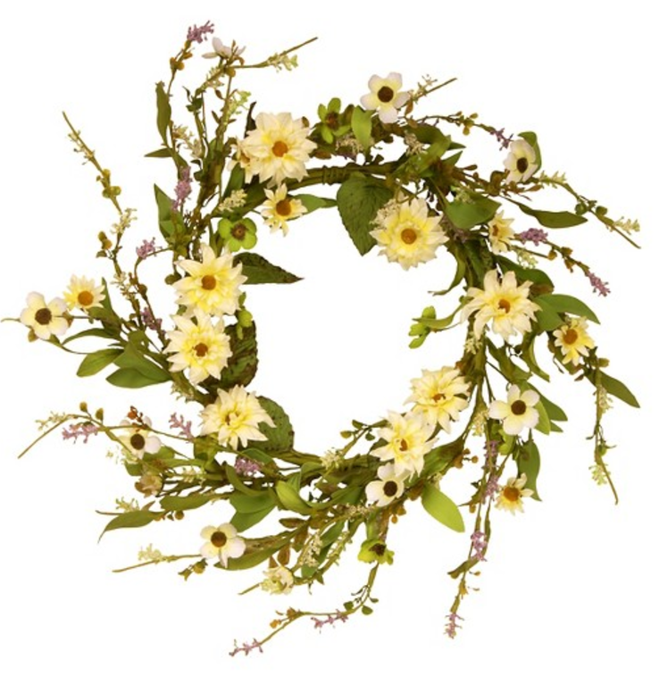 Garden Accents Floral Wreath with Daisy