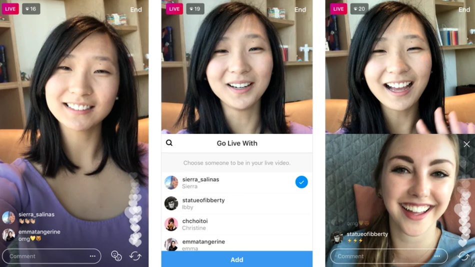A split-screen of Instagram live with a friend.