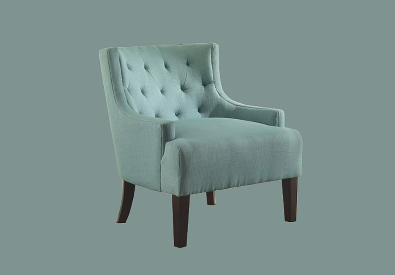 Teal accent chair.