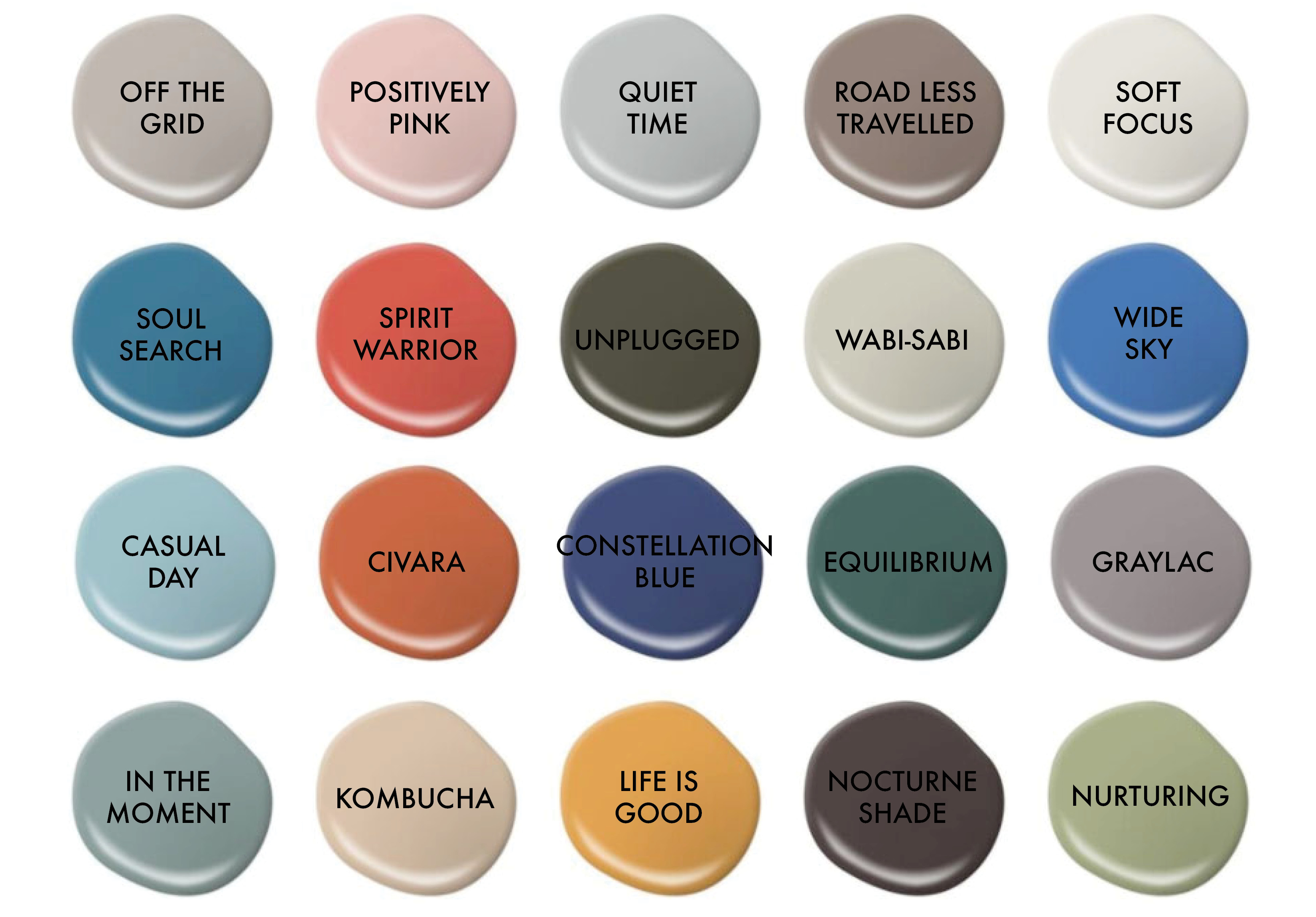 Swatches of BEHR's color picks for 2018.