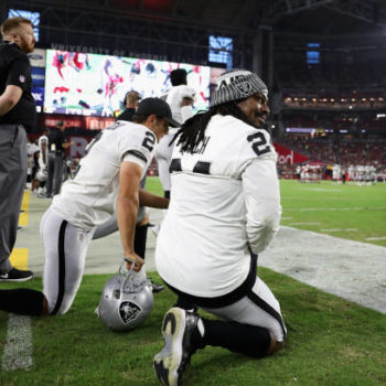 Oakland Raiders player Marshawn Lynch took a seat during the national anthem last night