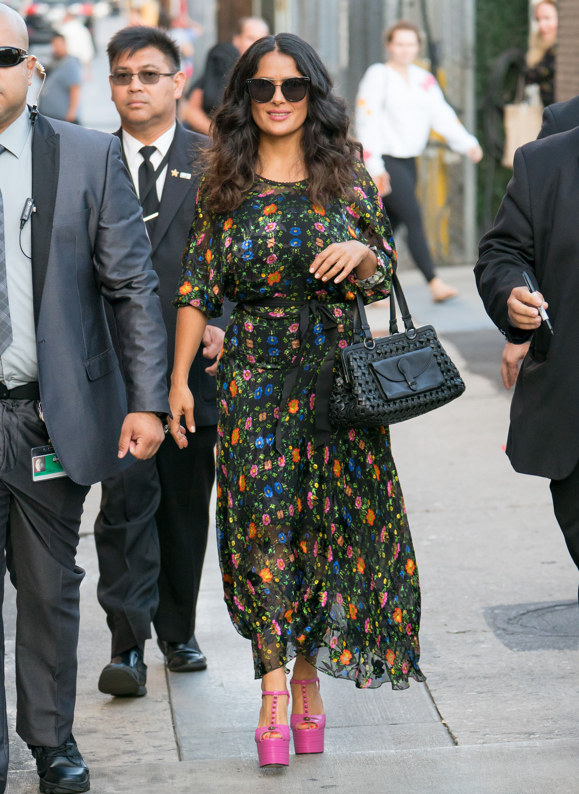 salma hayeks studded barbiepink heels might be our new