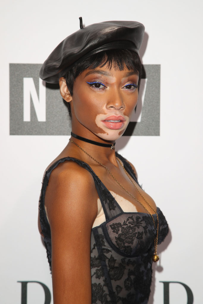 Winnie Harlow paired a leather beret with a ball gown 39bae900f0c