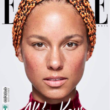 """Alicia Keys has only these two beauty products on her face on the cover of """"Elle Brazil"""""""