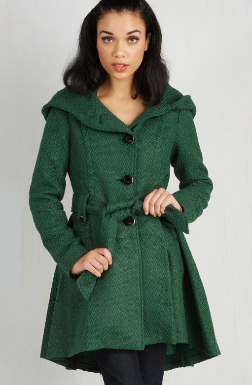 Forest green peacoat.