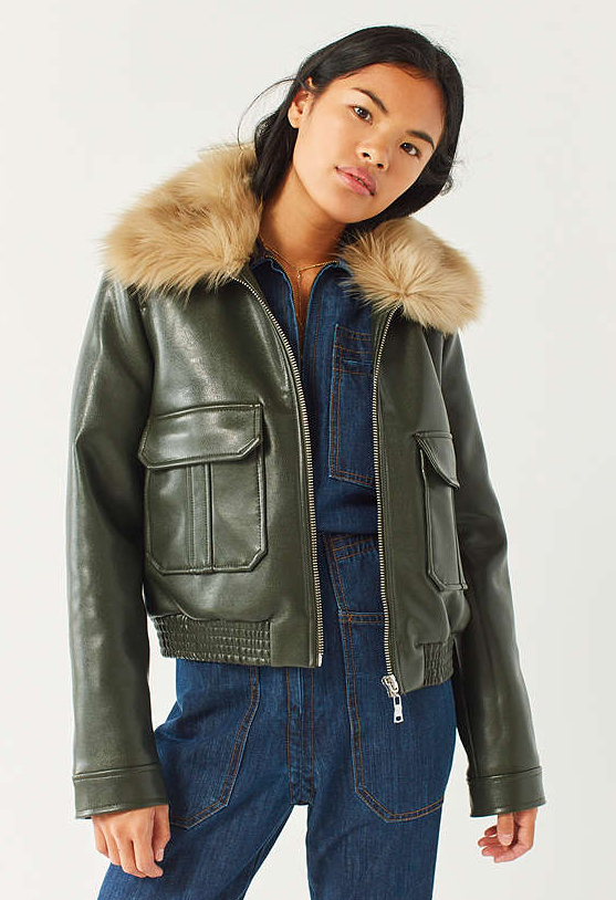 Green leather with fur.
