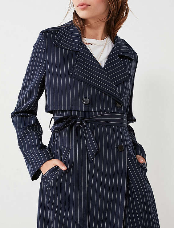 Navy blue pinstripe trench.