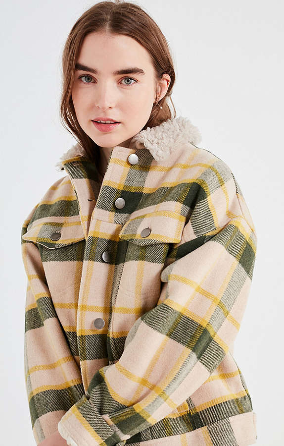 Green and yellow plaid coat.