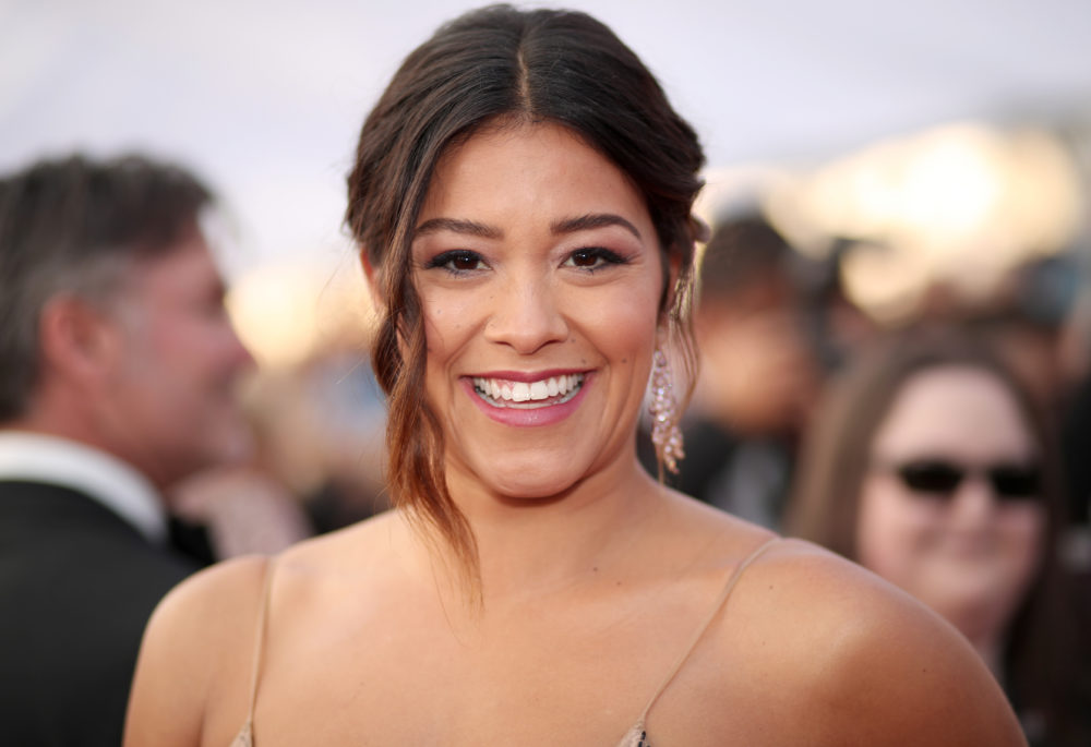 Gina Rodriguez got in on the plunging neckline trend at the 2017 Emmys