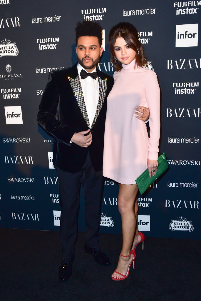 The Weeknd and Selena Gomez attend 2017 Harper's Bazaar Icons at The Plaza Hotel on September 8, 2017 in New York City.