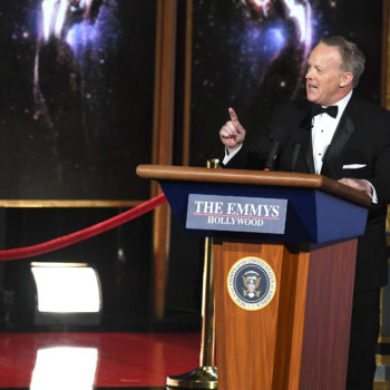 In case you're wondering, it was Stephen Colbert's idea to bring Sean Spicer to the Emmys