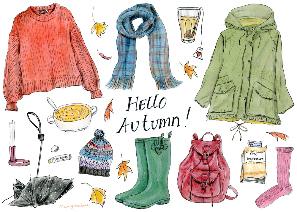 Your first day of autumn outfit, illustrated