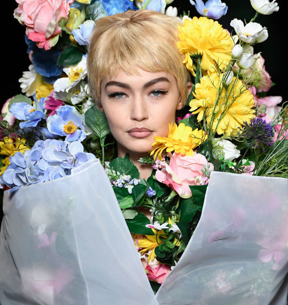 Gigi Hadid dressed like a bouquet of flowers, because fashion week