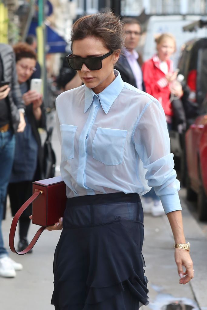 Victoria Beckham Took The Sheer Shirt Trend And Literally