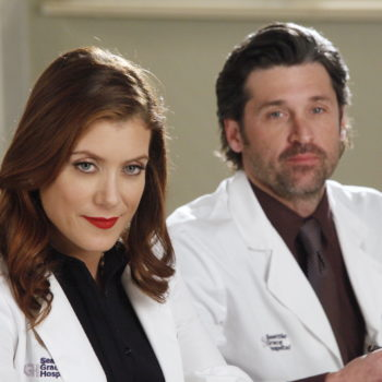 "Kate Walsh posted a recent selfie of herself with Patrick Dempsey on what looks like the ""Grey's Anatomy"" set, and we have questions"
