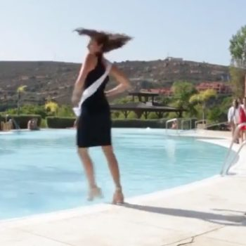 A Miss Universe contestant fell into a pool while trying to twirl, is all of us