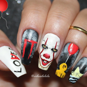"Get the creepiest manicure of your life by copying these ""It""-inspired nails"