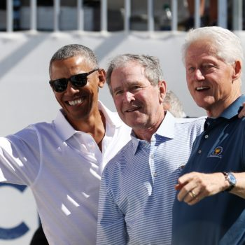 The internet got very sentimental over this Obama, Bush, and Clinton reunion photo
