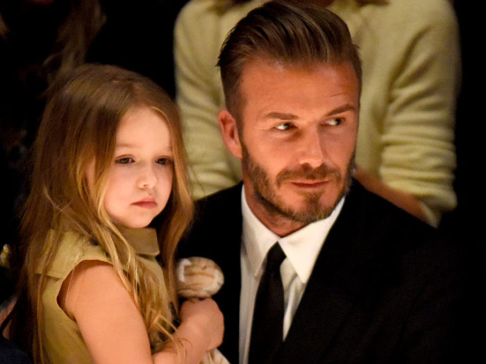 Harper Beckham has inherited dad David's football skills