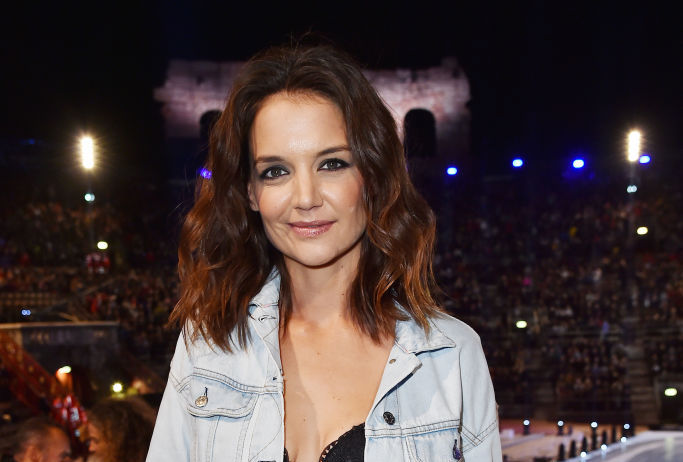 Katie Holmes' lace bra and jean jacket is the perfect off-duty outfit