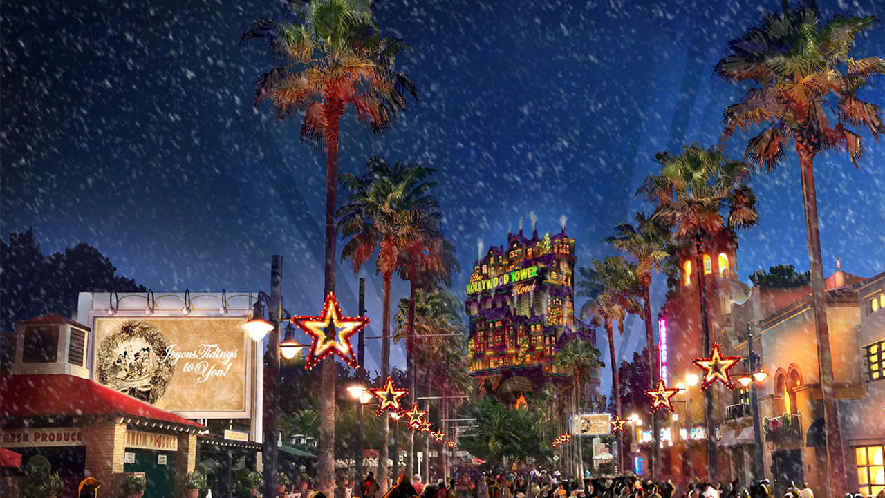 here is the concept art for sunset seasons greetings disney - When Does Disney World Decorate For Christmas 2017