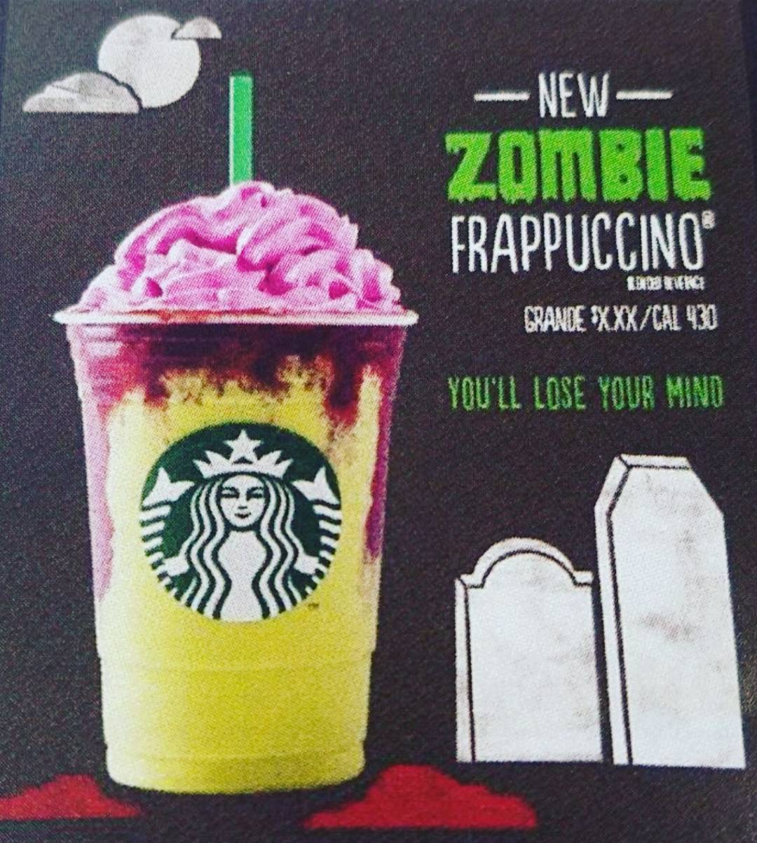 A colorful Frappuccino with a yellow base and red drizzle is topped with pink whipped creme and sit's next to the announcement stating it's the