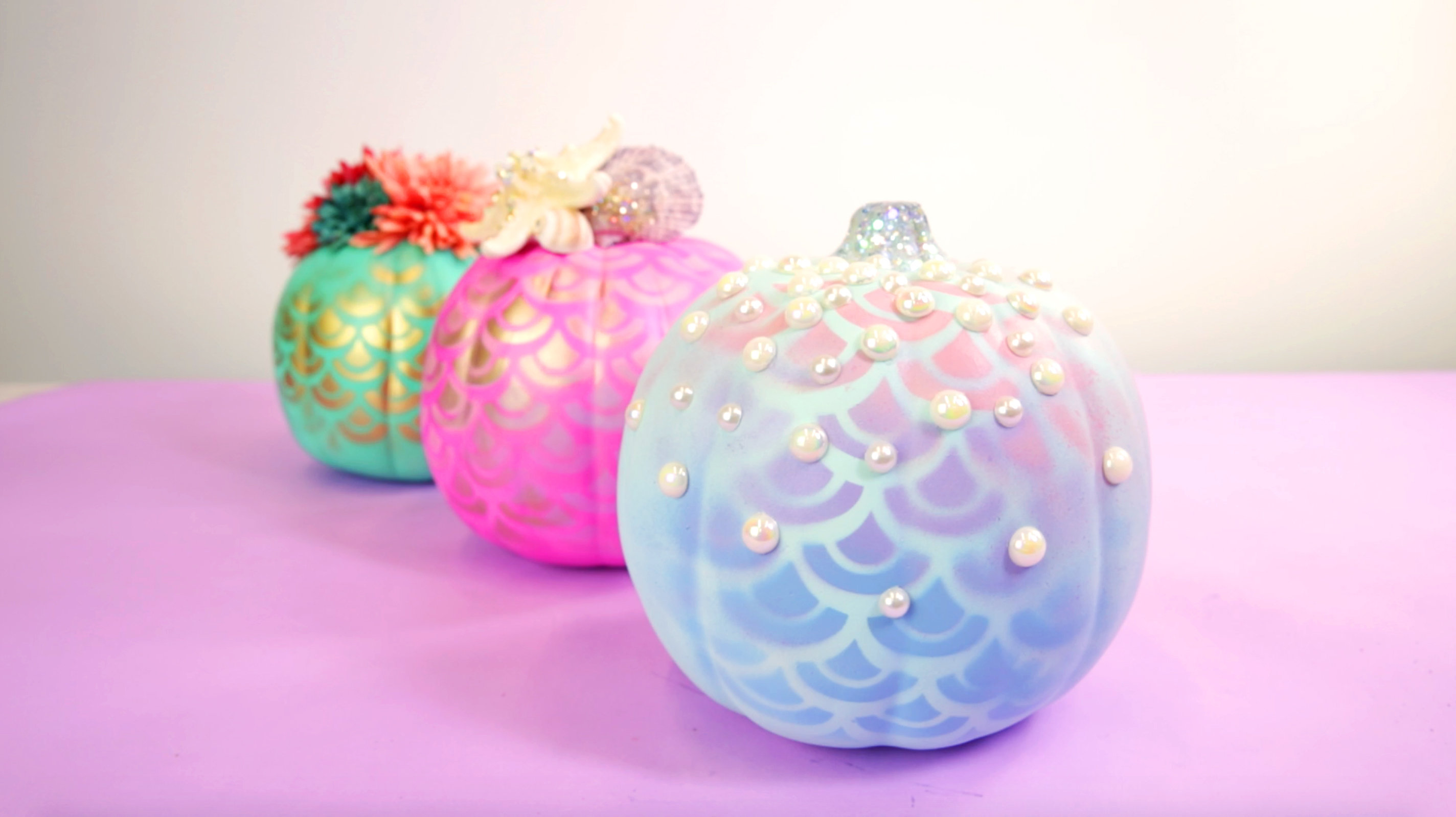 You'll be makin' waves this Halloween with these DIY mermaid pumpkins