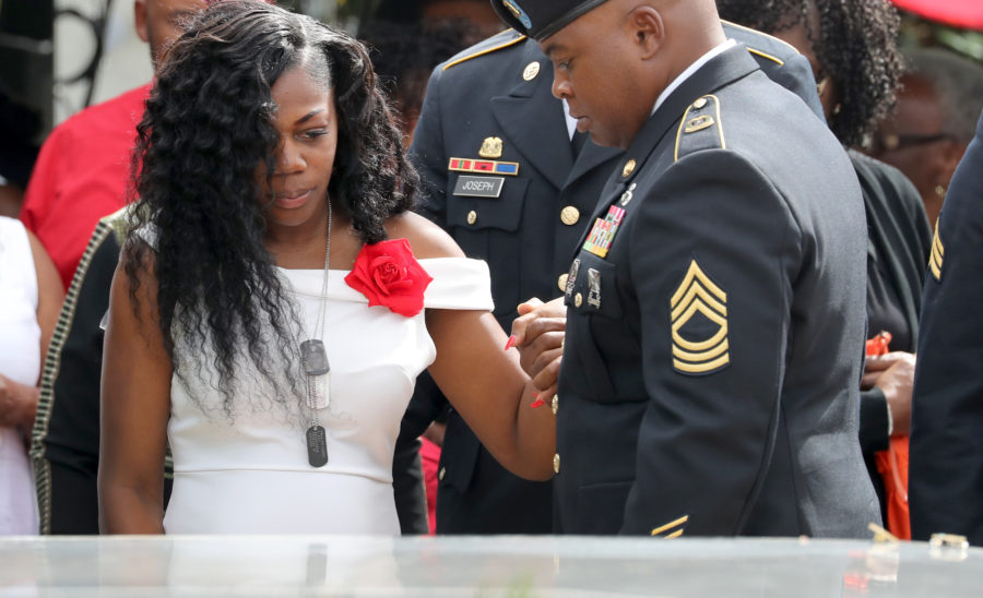 """Trump defended his phone call to Myeshia Johnson after she appeared on """"Good Morning America"""" this morning"""