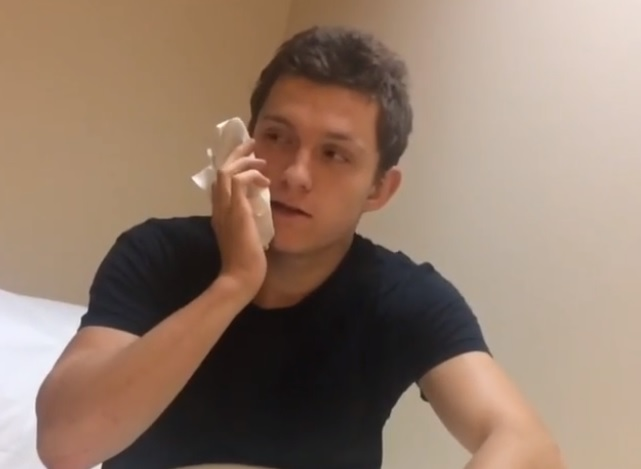 Tom Holland shared a video of himself right after wisdom tooth surgery