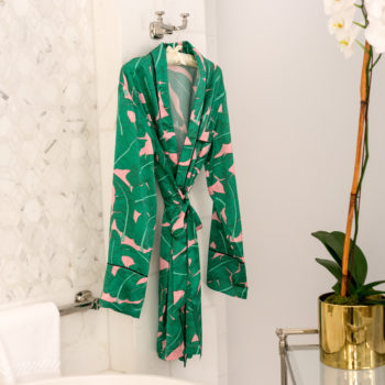 Palm print lovers will obsess over Shhh Silk's collection inspired by the Beverly Hills Hotel